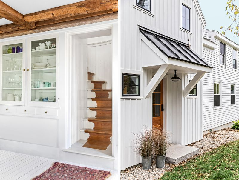 a Cape Cod-style remodel in Cumberland Foreside, ME, staircase (left), side addition (right)